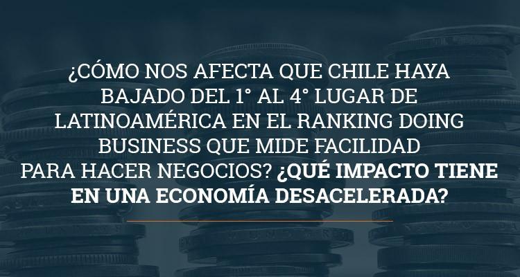 ¿Cómo nos afecta que Chile haya bajado del 1° al 4° lugar de Latinoamérica en el ranking Doing Business que mide facilidad para hacer negocios? ¿Qué impacto tiene en una economía desacelerada?